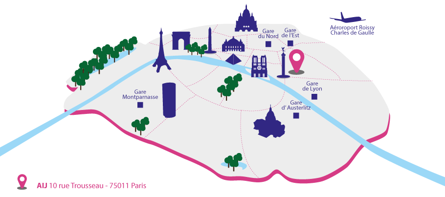 Map of Paris, AIJ, Budget Youth hostel