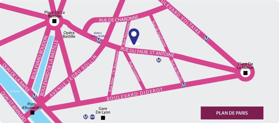 plan d'accès, Auberge Internationale des Jeunes, Paris Bastille, 75011